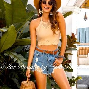Scalloped Boho Halter in Taupe